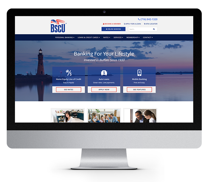 credit union website design near buffalo ny desktop view of bscu