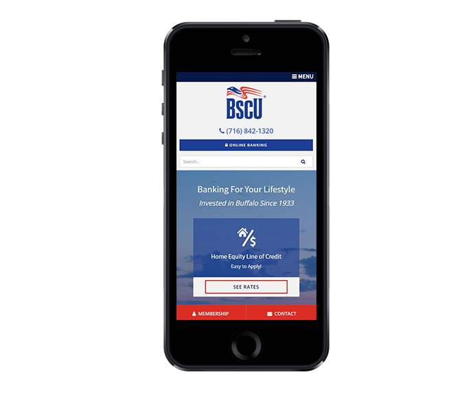 credit union website design near buffalo ny mobile friendly bscu by acs web design and seo