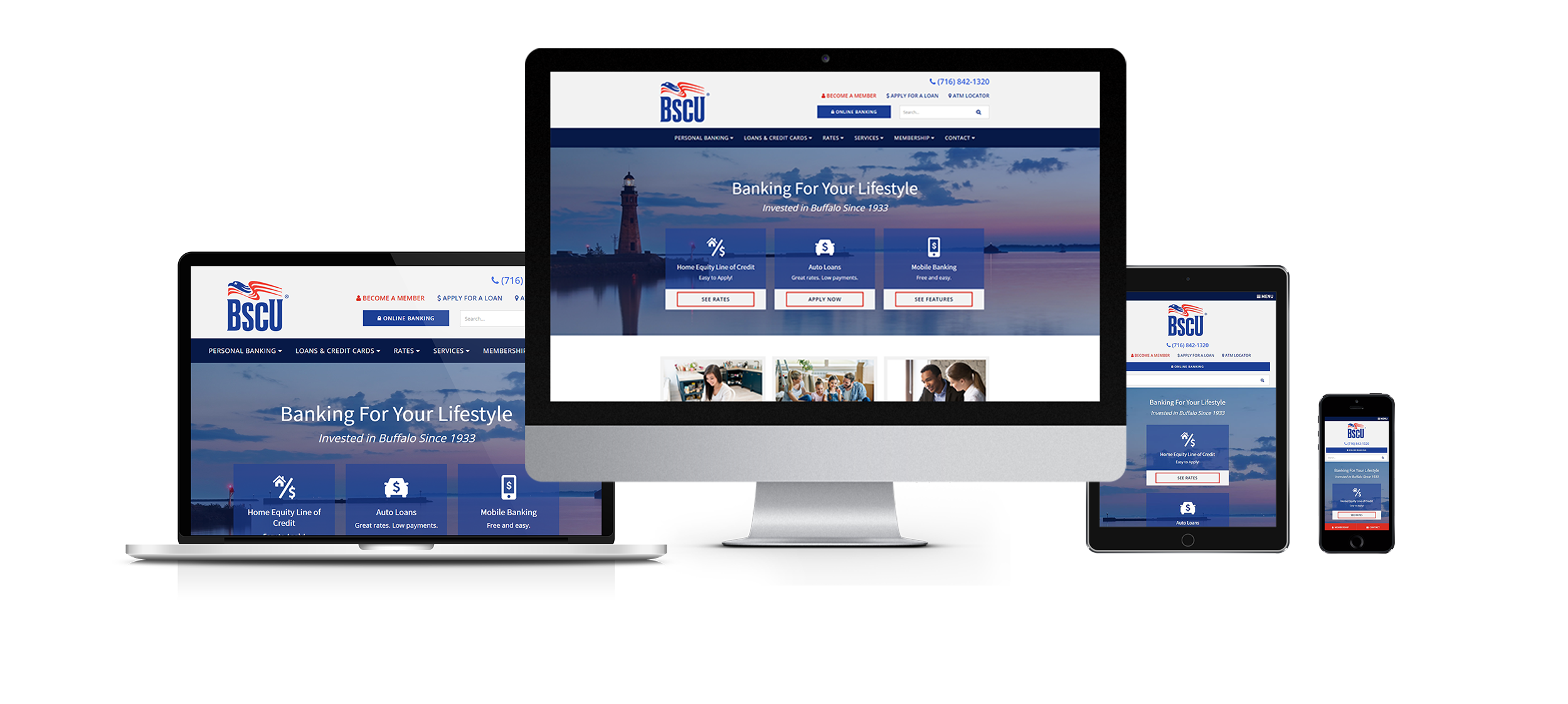 credit union website design near buffalo ny responsive website design for bscu by acs web design and seo