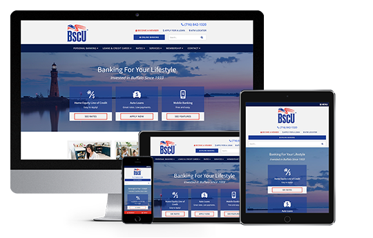 credit union website design near buffalo ny responsive web design for bscu