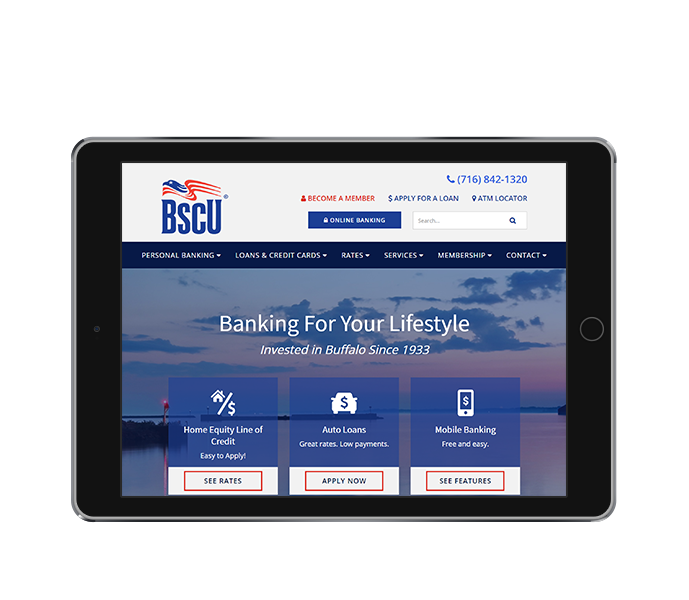 credit union website design near buffalo ny tablet landscape view of bscu