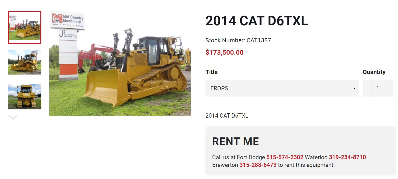 heavy equipment website design product detail pages by acs web design and seo