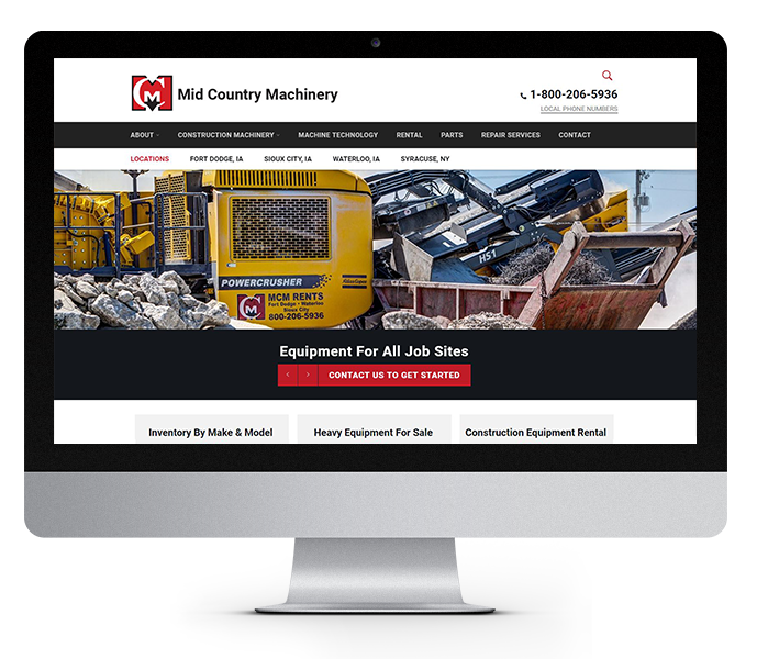 heavy equipment website design desktop view by acs web design and seo