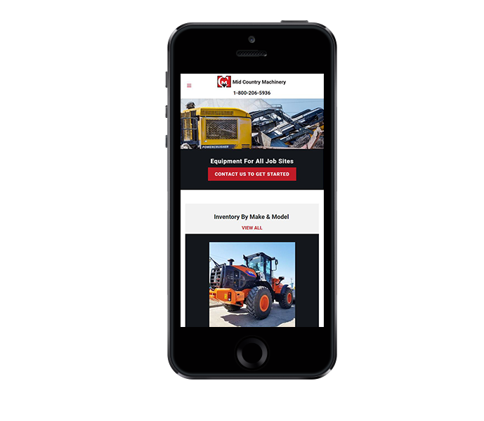 heavy equipment website design mobile friendly view