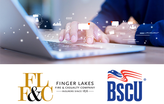 web design company image of fingers on laptop keyboard with bubbles indicating multichannel funnels and finger lakes fire and casualty company logo bscu logo
