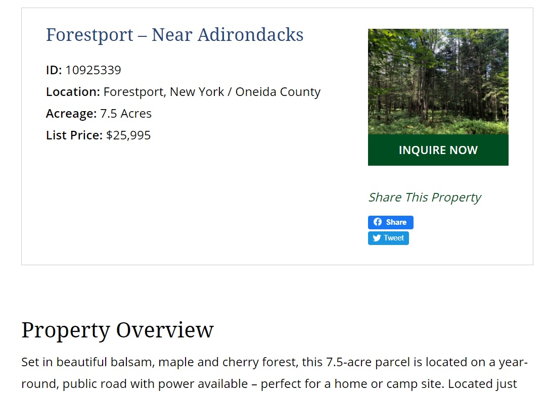 new york web design image of property detail page including property name location acreage list price and property description