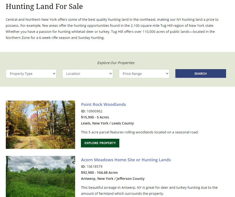 new york web design image of property category page with seo description for hunting land for sale and list of properties