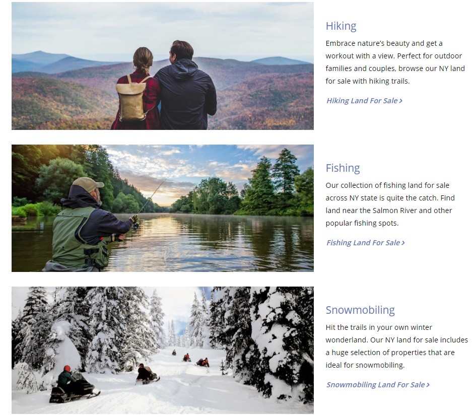 new york web design image of custom landing pages for hiking land fishing land and snowmobiling land