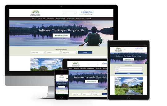 new york web design image of land and camps website on desktop laptop tablet and phone