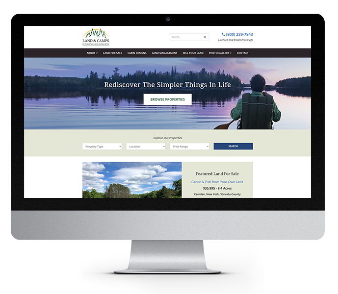 new york web design land and camps desktop view