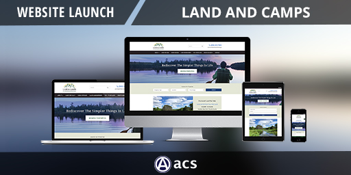 new york web design portfolio image of land and camps image of website on desktop laptop tablet and phone