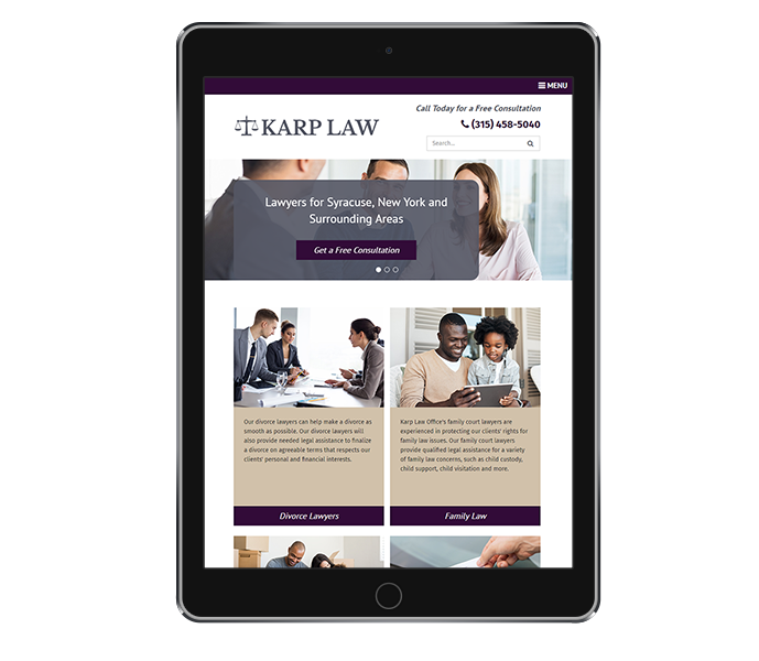 law office web design image of karp law office on tablet portrait view