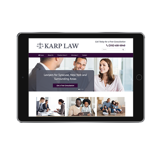law office web design image of karp law office website on tablet landscape view