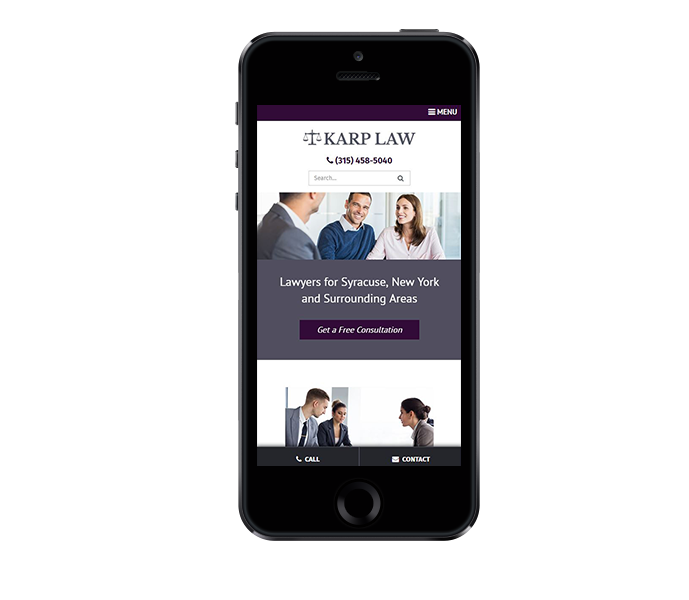 law office web design image of karp law office website on mobile phone