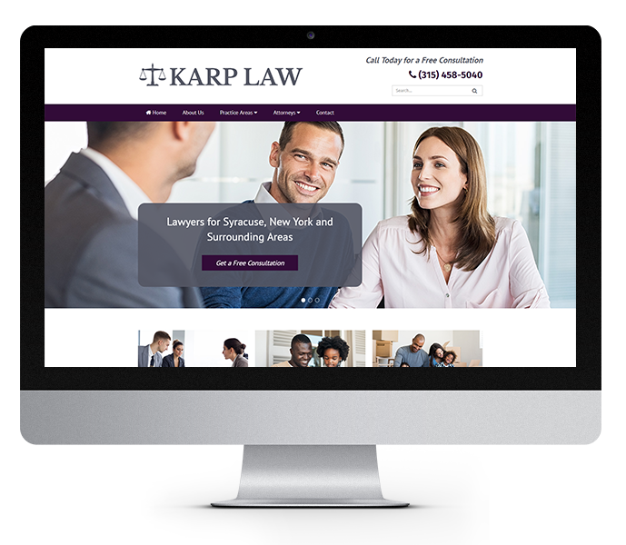 law office web design image of karp law office website on desktop