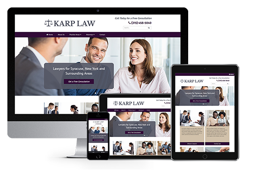 law office web design image of karp law office responsive web design on different screens