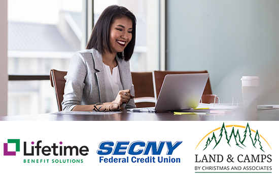 web design company business professionals online meeting and logos for lifetime benefit solutions SECNY Federal credit union and Land & Camps